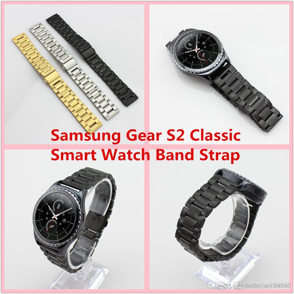 For Samsung Gear S2 Classic Smart Watch Band Strap Stainless Steel Huawei With Leather Bracelet Metal Bands Spring Bar Pk Apple