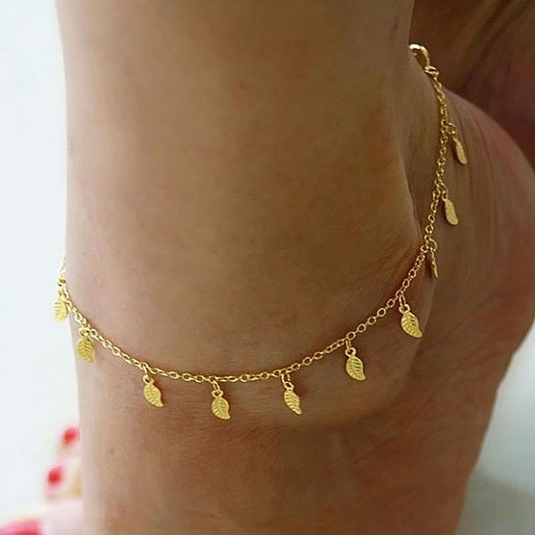 Anklets Foot Jewelry Gold silver Plated Trendy Gift Women Foot chain Sexy Simple Gold Anklet Ankle Bracelet Leaf Chain Adjustable Free DHL