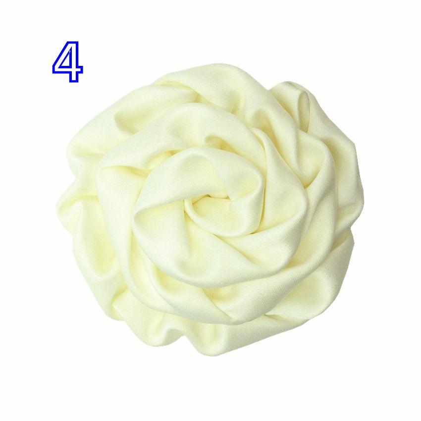 Gute Qualität 8 cm Handgemachte Gerollte Satin Blume 50 stücke 25 Farben Große Rosette Knospen Flache Rückseite für DIY Stirnband Kopf tragen Haarschmuck
