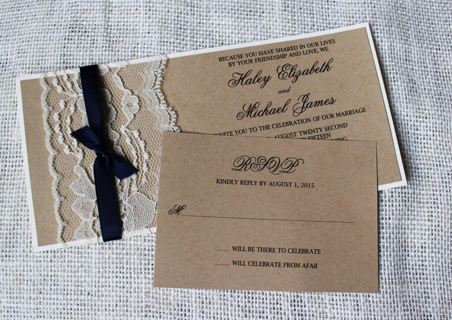 2018 Rustic Wedding Invitation Set Country Wedding Kraft Paper – Handmade Rustic Wedding Invitations