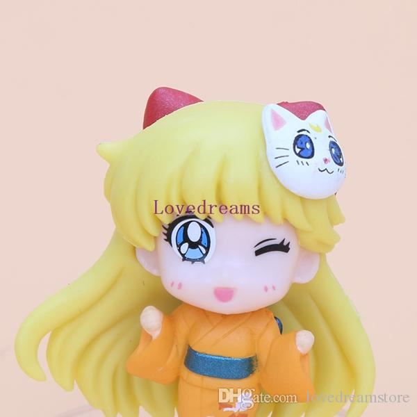Anime Sailor Moon kimono Chibimoon Mars Jupiter Venus Mercury PVC Action Figure Model Toys phone Keychain Pendant