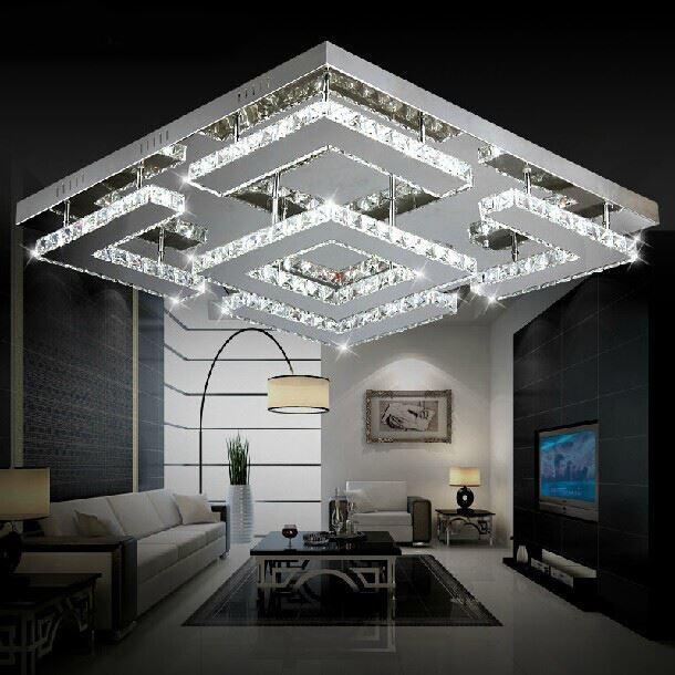 2018 large square design modern led crystal ceiling light for living room lustre de circles. Black Bedroom Furniture Sets. Home Design Ideas