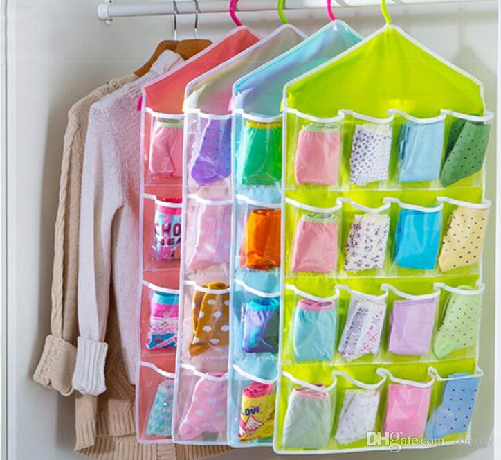 Colorful Underwear Socks Hanging Storage Bags Wall Wardrobe Pouch Sundries Accessories Organizer Cloth Bag Colorful 6 Patterns 16 Pockets