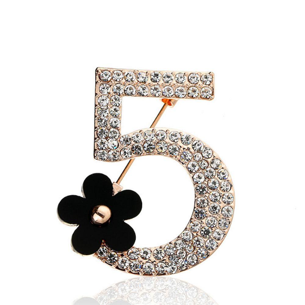 a965051e3 Women Flower Rhinestone Brooch Pin Luxury Letter NO5 Brand Designer ...