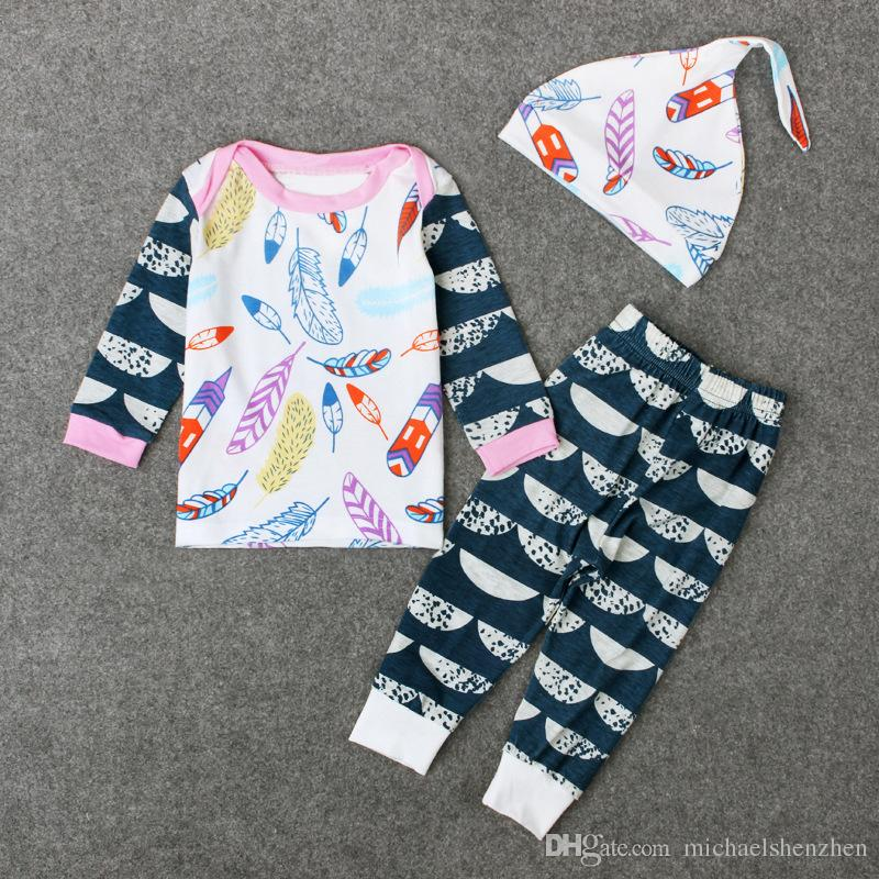 Baby boy menina INS letras tarja Ternos Crianças Criança Infantil Casual Curto de manga comprida T-shirt + calças + chapéu conjuntos pijama roupas B