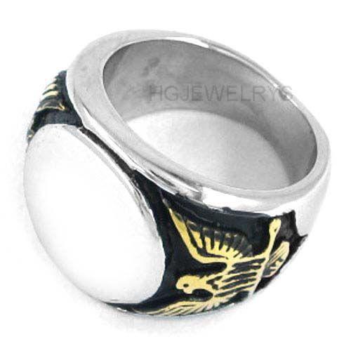 ! Gold Eagle Biker Masonic Ring Stainless Steel Jewelry Gothic Freemasonry Mason Motor Biker Men Ring SWR0243H
