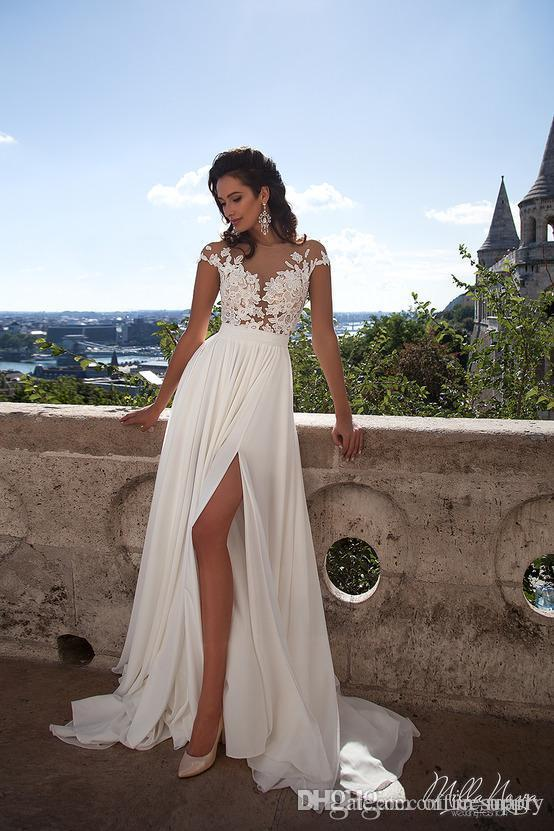2019 Sexy Sheer Lace Appliqued A Line Wedding Dresses with Capped Sleeves High Split Side Beach Bridal Gowns