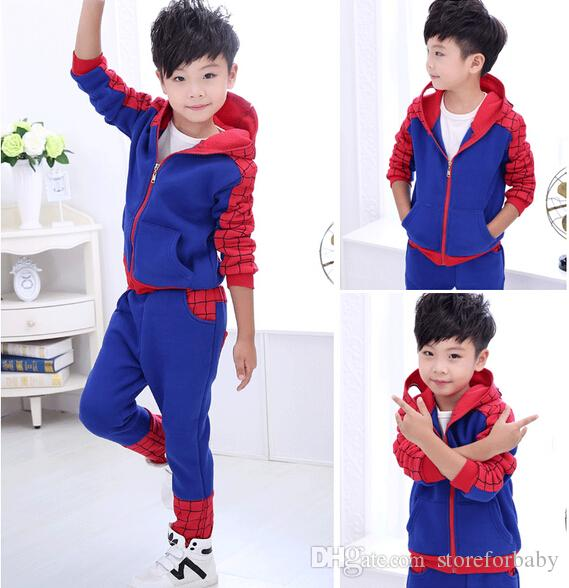 Felpe con cappuccio Boy Spider Man bambini in vendita Abbigliamento invernale Ragazzi tuta con cappuccio spiderman pantaloni due pezzi Costumi personaggio Spiderman ls-001