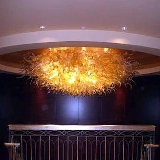 Luce di soffitto di vetro soffiata di arte del grande disegno LED Luce di soffitto dorata di lusso di 40 pollici Diametro 2017 Vendita calda