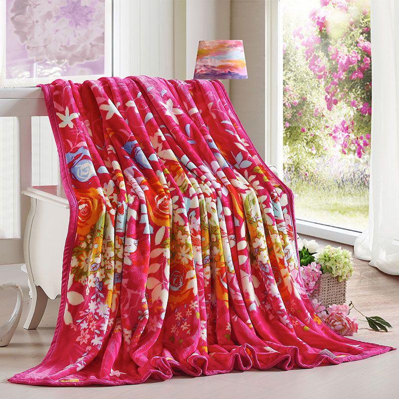Polyester Bed Cover Blanket Fur Crochet Soft Fluffy Fleece