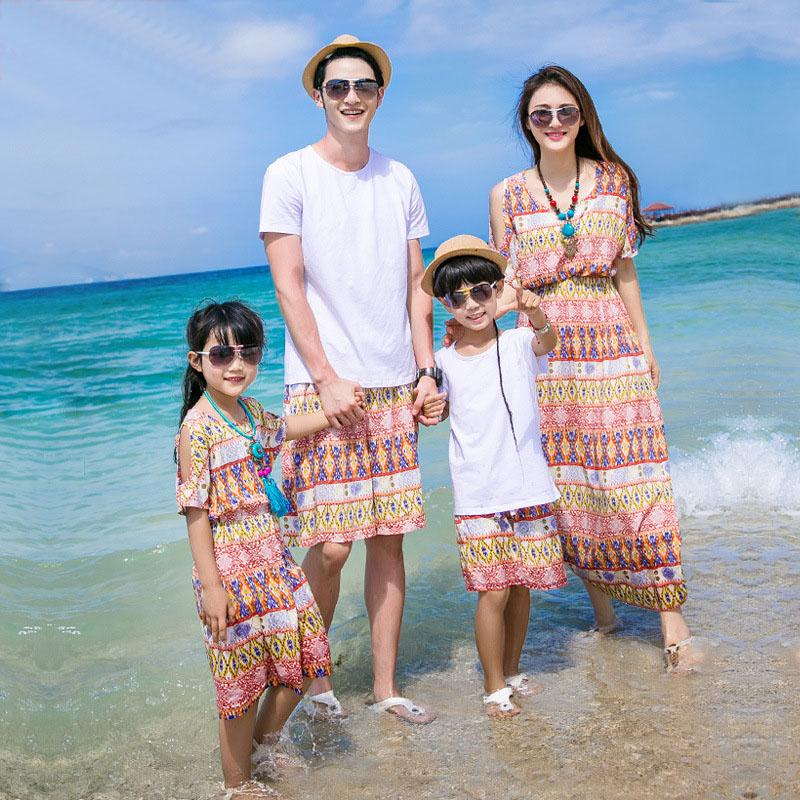 New Arrival Summer Latest Bohemian Beach Style Dress Mother And Daughter Dress Family Fitted ...
