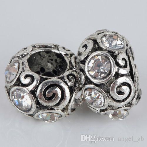 Braccialetto all'ingrosso di fascini di fascino del foro del grande foro europeo d'argento tibetano alla moda del Rhinestone chiaro all'ingrosso