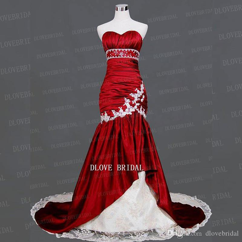compre vestido de novia sirena blanco rojo oscuro de la vendimia