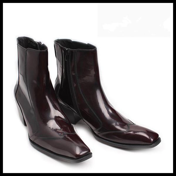 Novo Design Botas de Moda Popular Botas de Couro Genuíno Dos Homens Botas Meias Concise Ao Ar Livre Coreano Sapatos Homem Chunky Heel Vinho Vermelho Couro envernizado