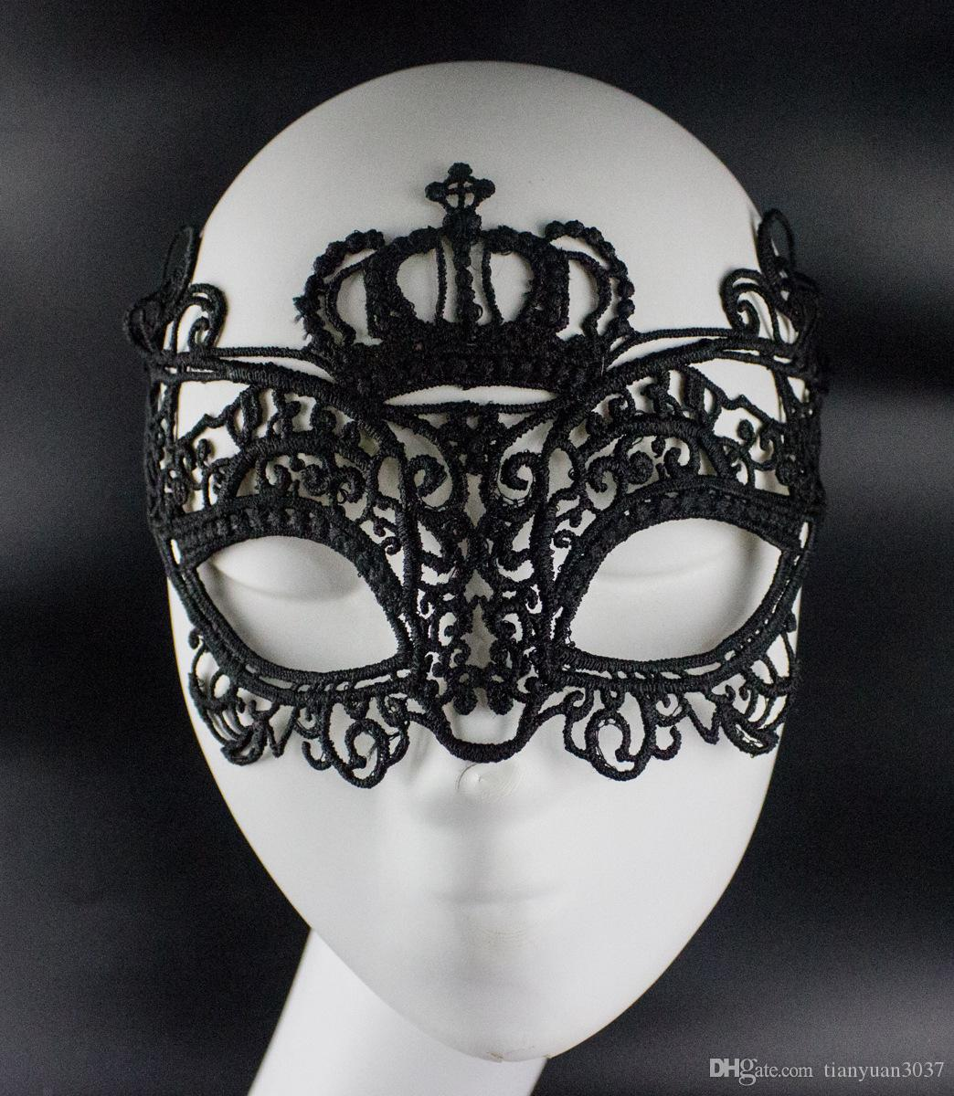 black sexy fancy gothic style lace mask women dress costume crown pattern cutout eye mask for masquerade party Halloween mask TY939