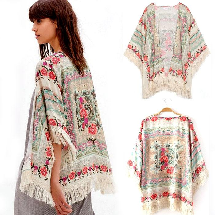 bc384228290c Wholesale Women Chiffon Kimono Summer Coat Lady Floral Loose Tassels Shawl  Kimono Cardigan Jacket Cami Girl Printed Loose Blouses S M L Track Jackets  ...