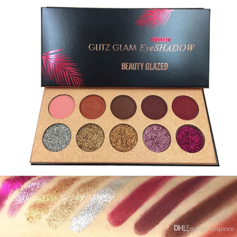 Beauté Glazed Glitz Glam 10 couleurs Glitter fard à paupières paillettes Palette fard à paupières surligneur Shimmer Beauté Maquillage Marque livraison gratuite660222-2