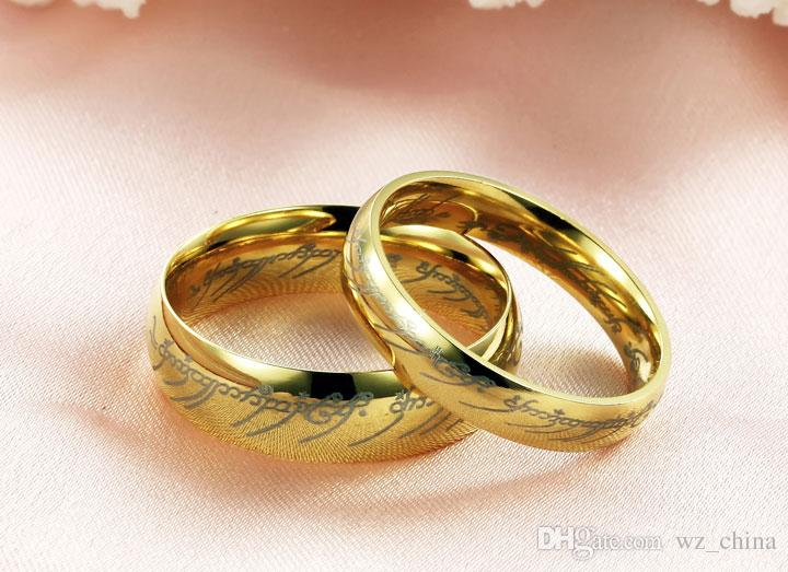 Stainless Steel Rings OPK JEWELRY Top Quality Couple Lover Wedding Rings 18K Gold Plated Handmade Luxury Couple Set Jewelry 316L