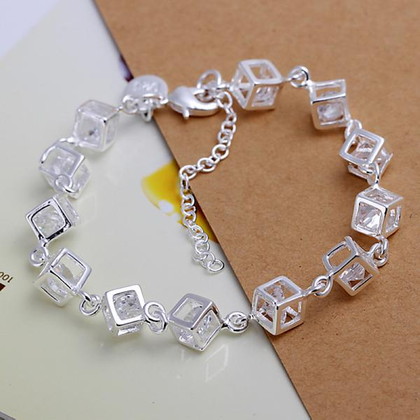 Free Shipping with tracking number Top Sale 925 Silver Bracelet Checkered White Diamond Bracelet Silver Jewelry 10Pcs/lot cheap 1798