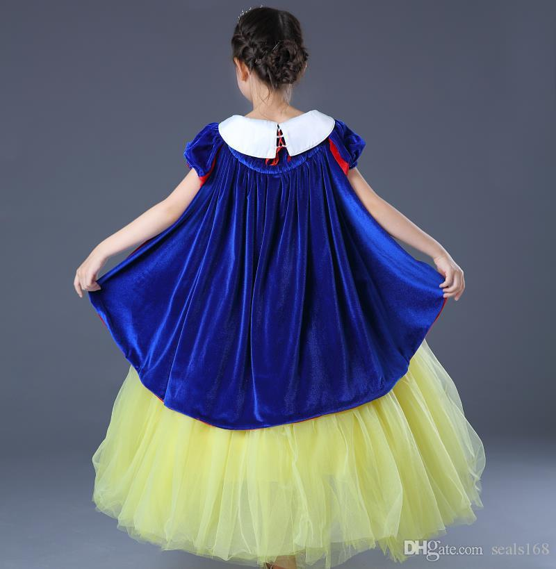 High Quality Girls Princess Snow White Costume Dresses 7 Layers Gauze Halloween Party Prom Dress Sleeping Beauty XMAS Clothes HH7-263