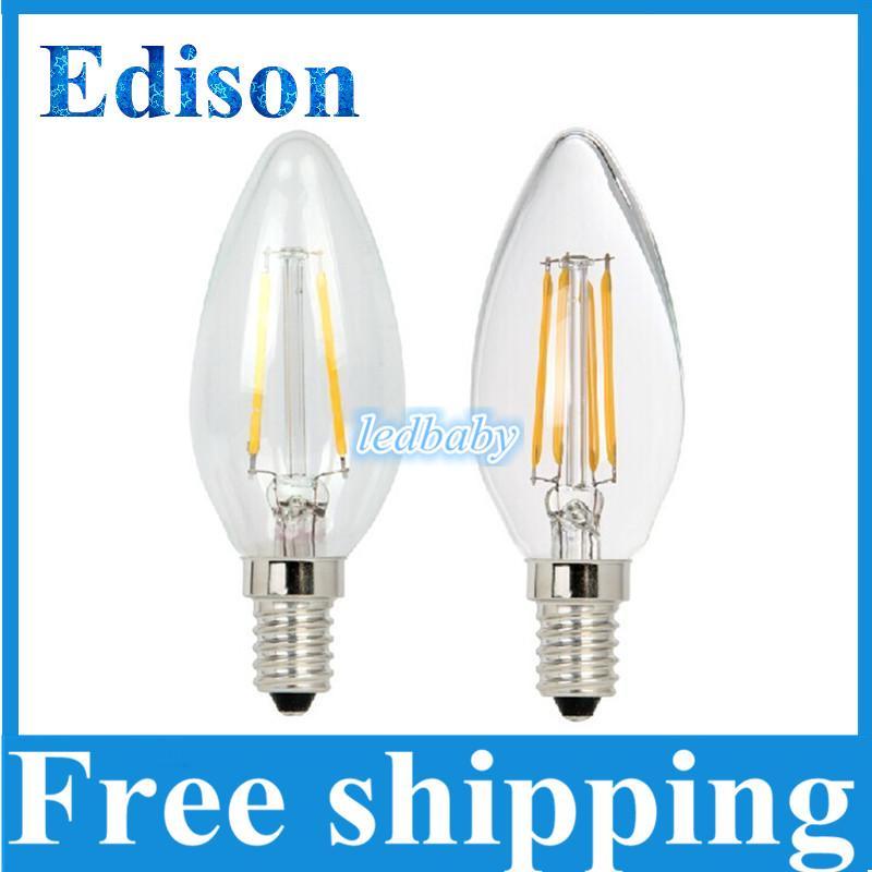 2015 New Style Edison Filament Led Candle Lamp 2W 4W E12 E14 Led Bulbs Light High Bright 120LM/W Warm White Led Lamp