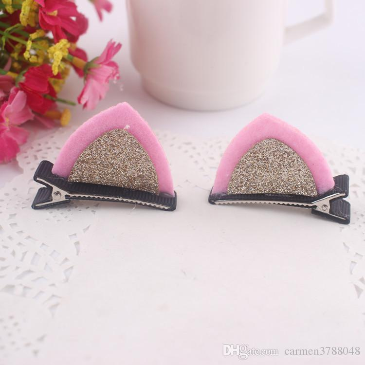 Cute cat rabbit ears hair clips for children girls fabric hair accessories 3.5*5cm clips hair jewelry