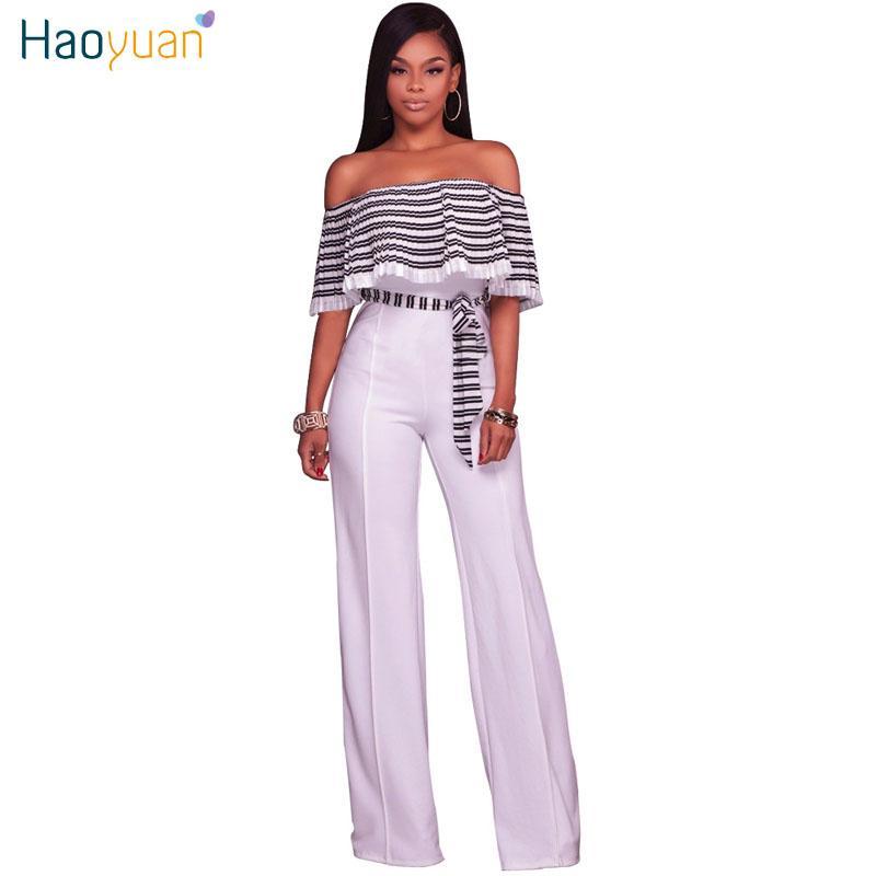 6aa359d9d99a HAOYUAN Striped Off Shoulder Wide Leg Jumpsuit 2017 Summer Elegant ...