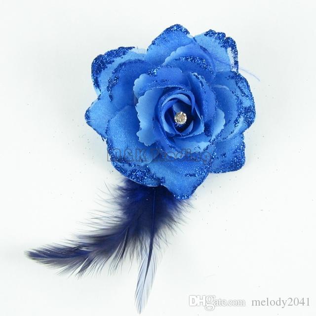 Nouveau Faux Fleur Paillettes Poudre Assez Fleur Artificielle Plume Décoration Strass Rose Mélanger Couleurs Livraison Gratuite