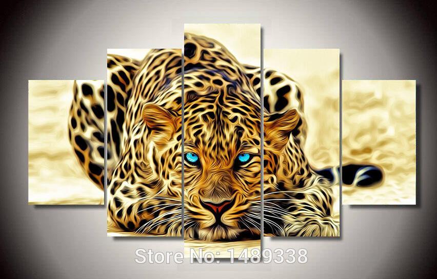 Gerahmte Hochwertige Moderne Auf Leinwand Gedruckt Leopard ölgemälde wand hängen wohnzimmer dekoration bilder 5 teile / satz gerahmt