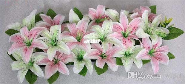 Искусственный шелк Лилия цветочные композиции арочный ряд цветы квадратной формы Лилия для свадьбы цветок главная партия декоративные цветы