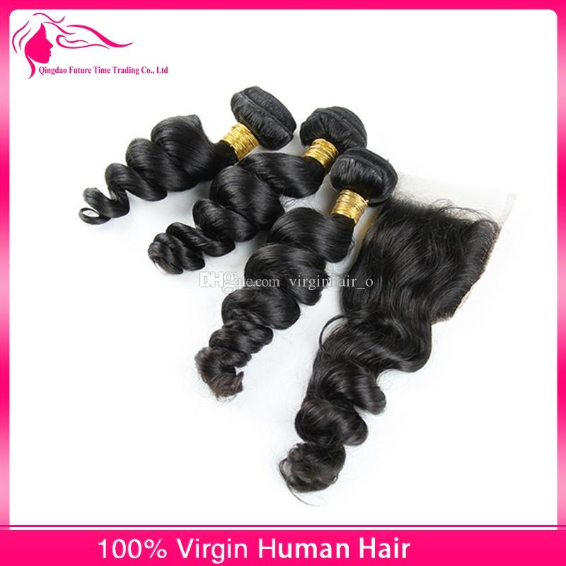 Peruvian Loose Wave With Closure Peruvian Hair Lace Closure With Bundles 8A Peruvian Human Hair Loose Wave Curls With Closure