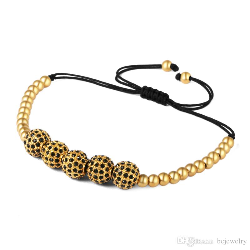 Anil Arjandas Men Bracelets 8mm Pave Setting Black CZ Beads 24K Gold 5mm Beads Braiding Macrame Bracelet For Women