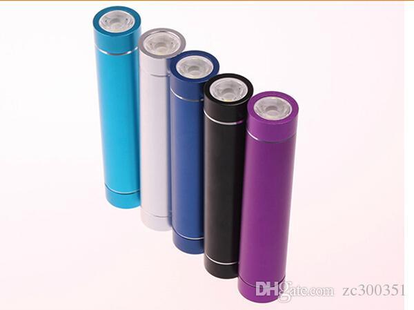 Avec LED Power Bank Universal 2600mAh Portable Cylindre USB Mobile powerbank Externe Backup Batterie Chargeur Bloc d'alimentation de secours pour iPhone