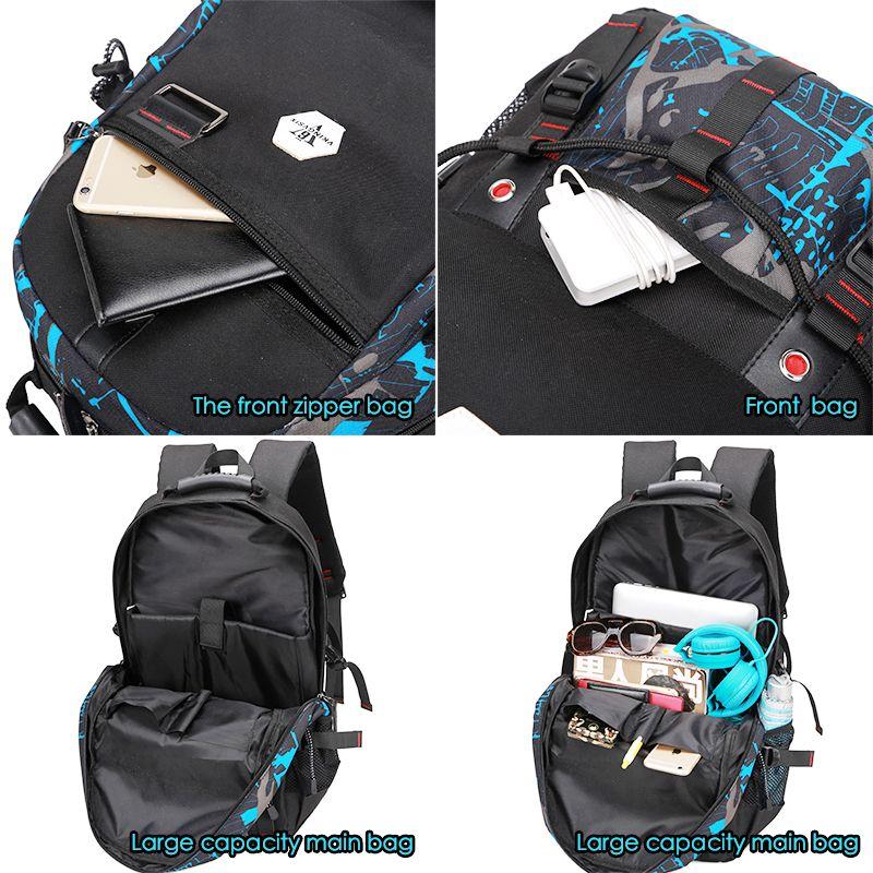 VKINGVSIX USB À Prova D 'Água mochila Mulheres Homens 15.6 polegada laptop mochilas de viagem sacos de escola para adolescentes meninos mochila mochila bagback
