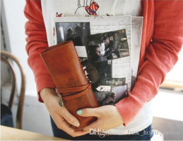 Hot selling Twilight Bag Designer Vintage Retro Roll Leather Make up Cosmetic Pen Pencil Case Pouch Purse Bag Accessories