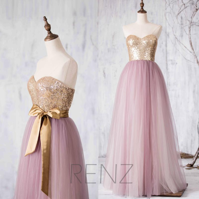 Rose gold sequin pink tulle bridesmaid dresses metallic for Pink gold wedding dress