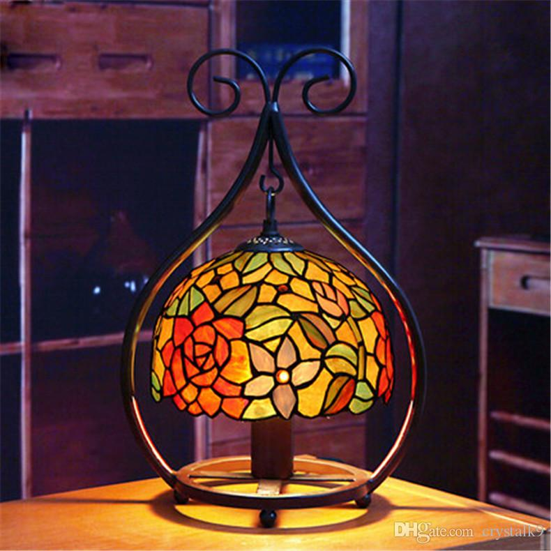 Europe Retro Stained Glass Table Lamps Creative European Luxurious Classical Color Glass Brown Desk Lamp Bedroom Bedside Light Dia 20cm