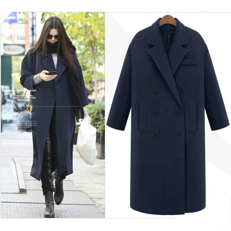 2e5586dbea4 Retro Women Lapel Loose Wool blend Outwear Black Grey Navy Blue Long Winter  Coat Warm Parka Oversize Coats poncho abrigos
