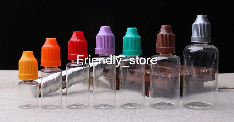 DHL Free PET Empty Bottle E Cig Liquid Bottle Clear Plastic Dropper Bottle With Childproof Safty Cap Needle Bottles 10ml