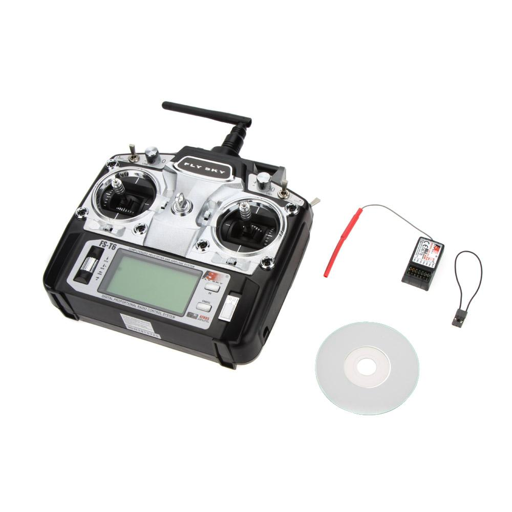 Original Flysky FS-T6 High Precision 2.4GHz 6CH Mode 2 Transmitter W/Receiver R6-B for RC Multirotor Quadcopter Helicopter order<$18no track