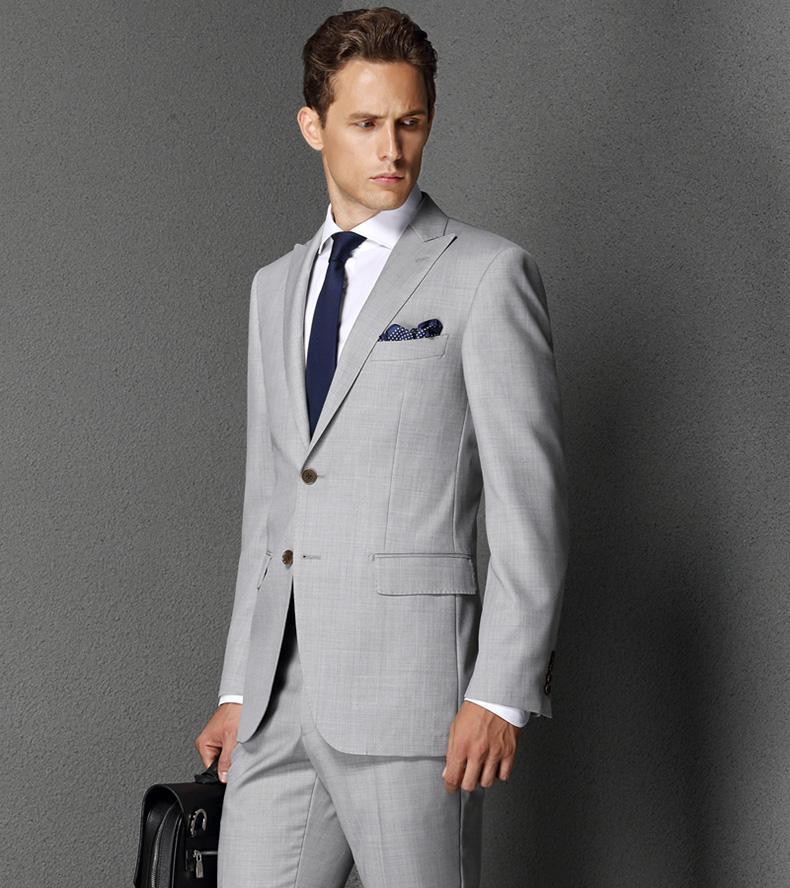 Light Gray Suit Suit Men's Fashion Simple Two Button Suits