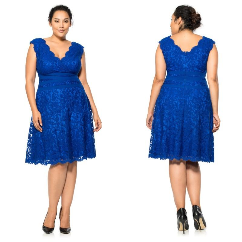 Royal Blue Lace V Neck Plus Size Evening Dresses 2015 Back Zipper