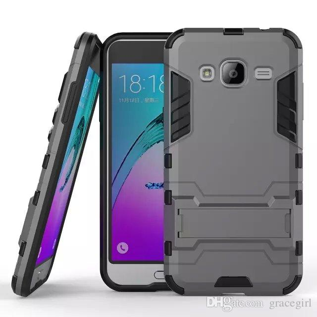 Stand Hybrid Armor Case For Samsung Galaxy J3 Motorola Moto X Force Droid Turbo 2 E3 Huawei Honor V9 Play 5X Hard PC TPU IronMan Cover
