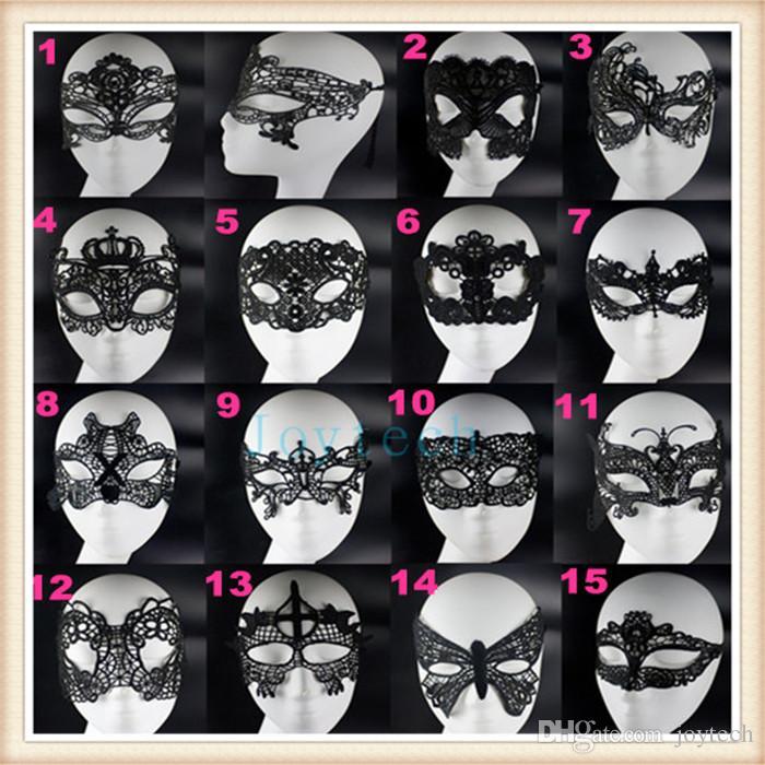 Moda adorável Máscara Do Partido sexy máscara de renda preta meias máscaras 15 estilos Máscara de Halloween masquerade máscara com laço para a mulher DHL Frete Grátis