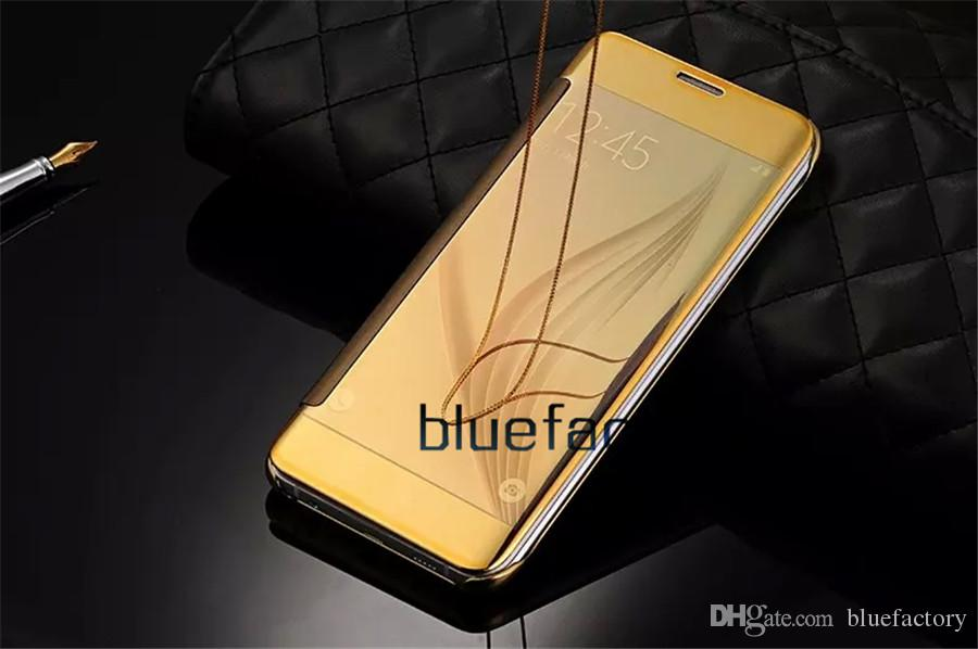 Mirror Clear View Leather Flip Smart Case Electroplate plated Transparent Chrome Wallet Cover for Samsung Galaxy S7 edge S8 S9 Plus Note 8