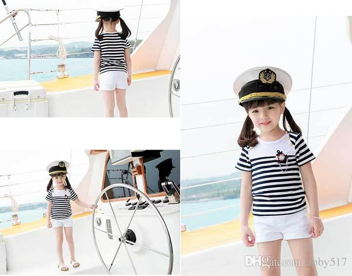 2017 Girls Shorts Outfit Baby Navy Sailor Suit Short Sleeve Cotton ...