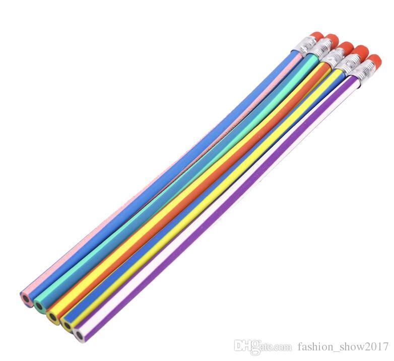 Top Vente Mignon Coloré Doux Pliable Doux Crayon Avec Gomme Jouet Coréen Papeterie Étudiant Récompensant Cadeau Enfants École Amusement Équipement