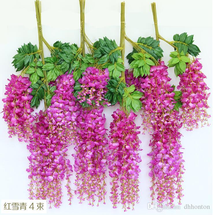 Fiori di edera artificiale Fiore di seta Glicine Fiore di vite Rattan centrotavola di nozze Decorazioni Bouquet Garland Home Ornament IF01