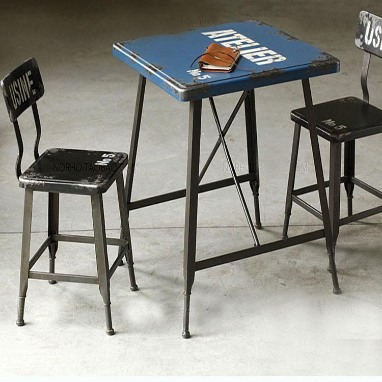 Minería combinación de muebles de estilo loft comedor retro mesa cuadrada  para hacer las viejas mesas y sillas de hierro forjado café informal ta