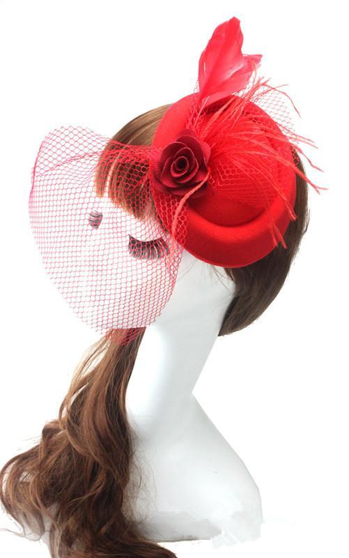 Cappelli Cocktail British Retro Tulle Handmade Velo di fiori Sexy Cheap Fashion Lady piccolo cappello da sposa copricapo Accessori da sposa